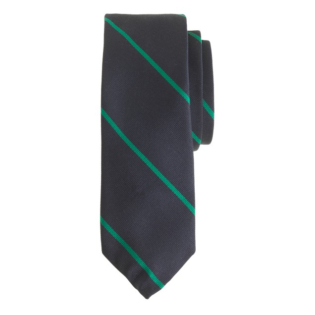 English silk tie in thin stripe