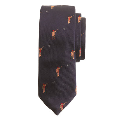 English silk tie with embroidered skeet shooters