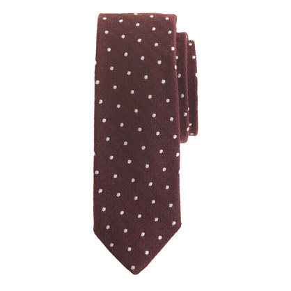 Extra-long English wool-silk tie in dots