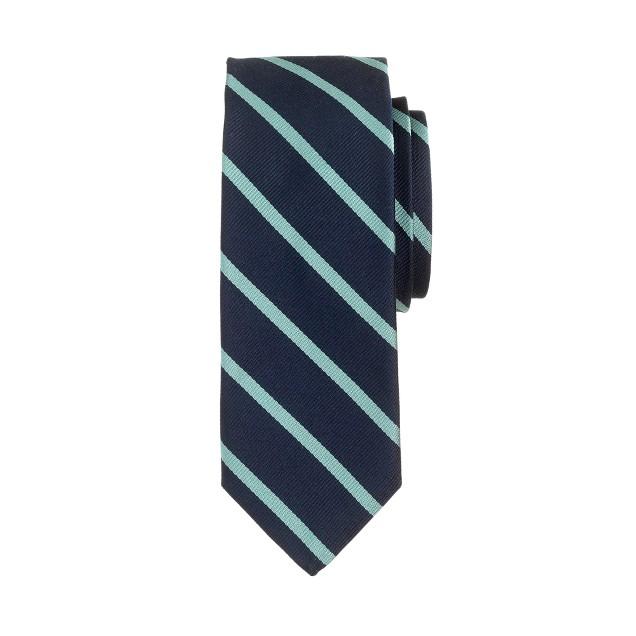 English silk tie in pale mint stripe