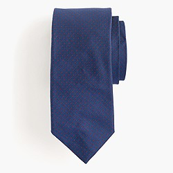 English silk tie in micro-pindot