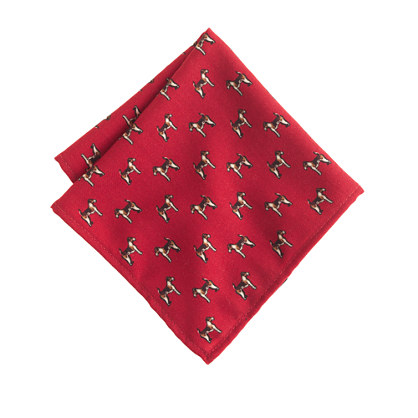 Wool pocket square in Jack Russell print