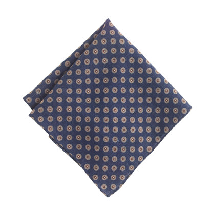 Italian wool double-sided pocket square in dot
