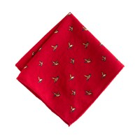 Italian wool pocket square in swan and duck print