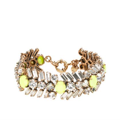Crystal and neon chevron bracelet