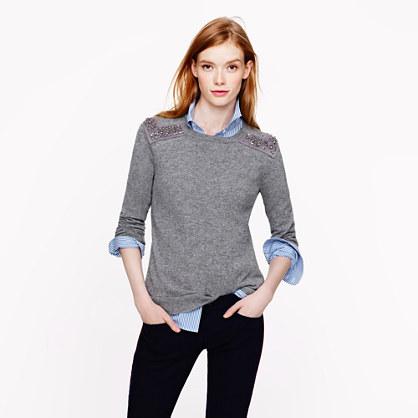 Jeweled-shoulder sweater
