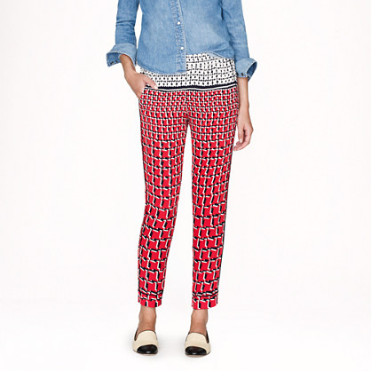 Collection silk pant in Cubist houndstooth