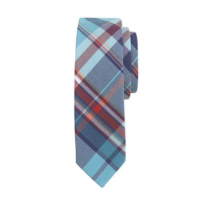 Boys' tie in turquoise plaid