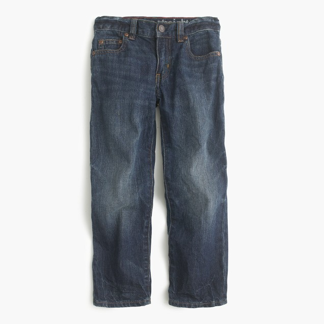 Boys' straight jean in dark worn wash