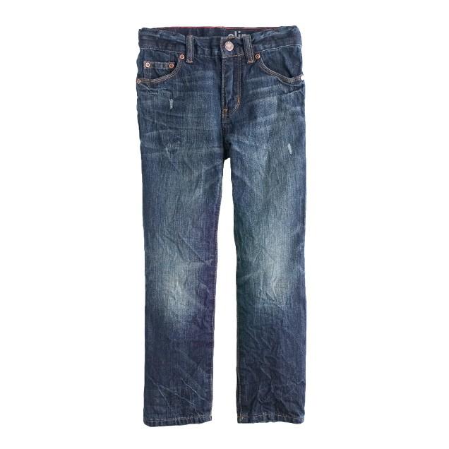 Boys' slim jean in dark destroy wash
