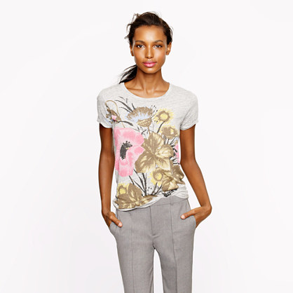 Antiqued floral tee