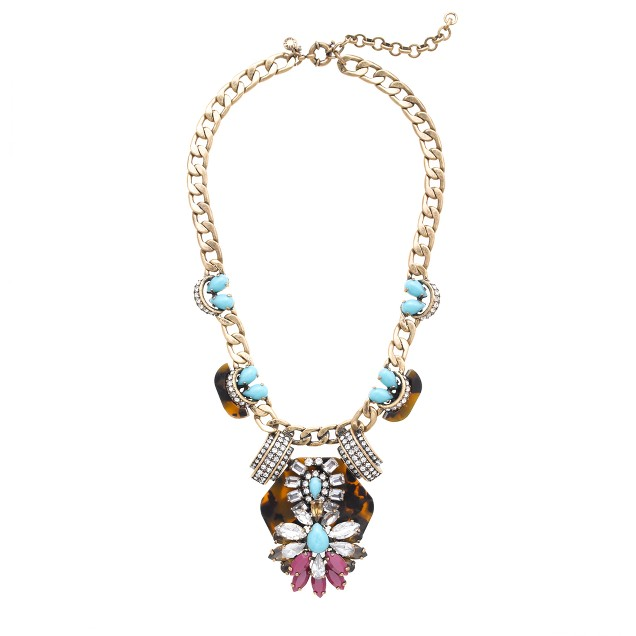 Tortoise and turquoise statement necklace