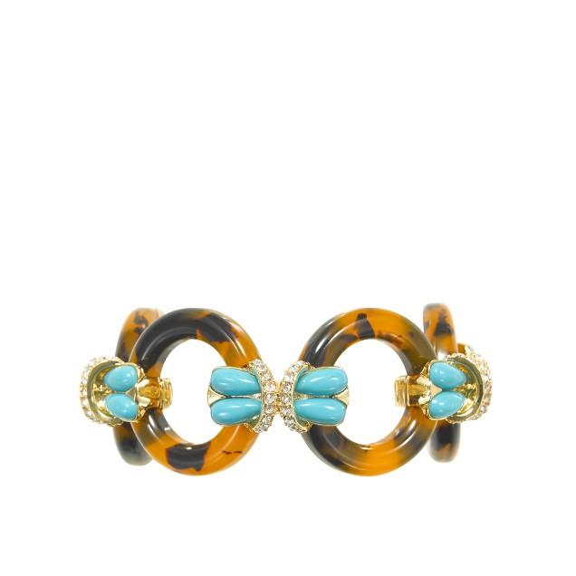 Tortoise and turquoise circle link bracelet