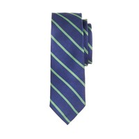 Boys' silk tie in green stripe