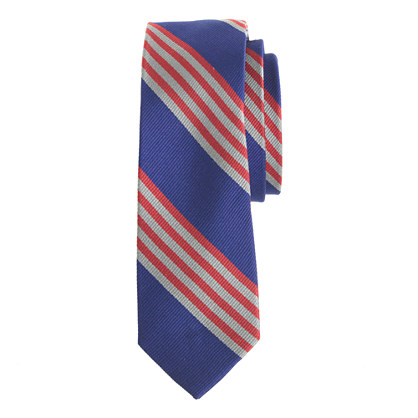 Boys' silk tie in cobalt multistripe