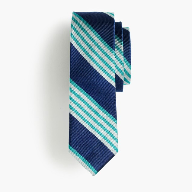 [cf]Boys' silk tie in cobalt multistripe