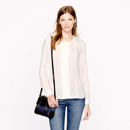 Pleated lace-stripe silk blouse