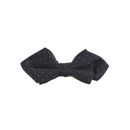 Boys' silk bow tie in navy pindot