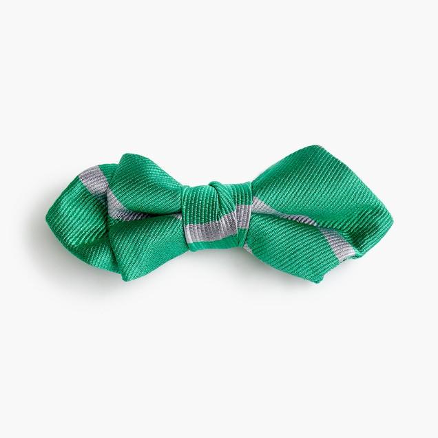 Boys' silk bow tie in emerald stripe