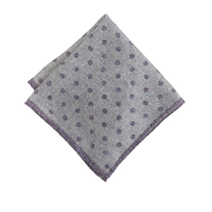 Italian heathered wool pocket square in dot