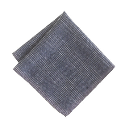 Italian wool double-sided pocket square in glen plaid