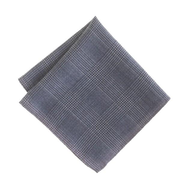 Italian wool double-sided pocket square in glen plaid