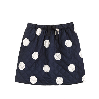 Girls' quilted puffer skirt in dot