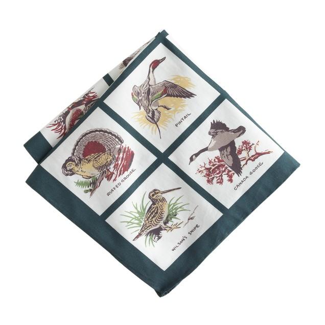 Italian cotton pocket square in bird print