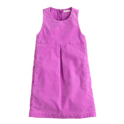 Girls' cord jumper dress in garment-dyed