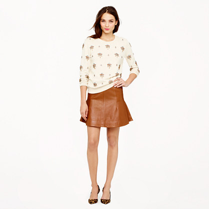 Collection fluted skirt in leather
