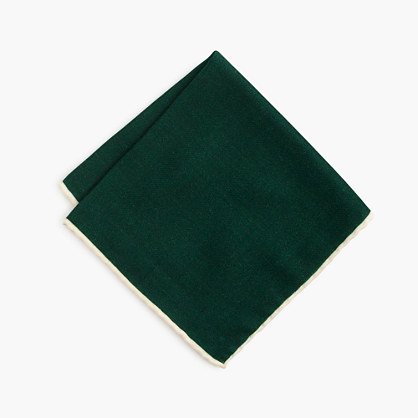 Tipped Italian wool pocket square