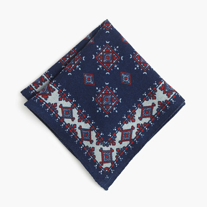 Italian silk pocket square in autumn orange medallion
