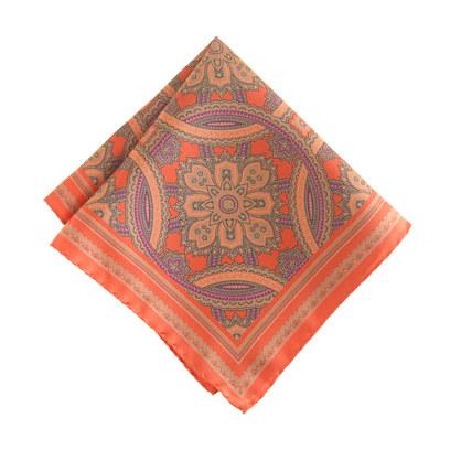 Italian silk pocket square in autumn orange medallion