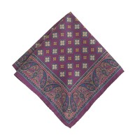Italian silk pocket square in dark petunia medallions
