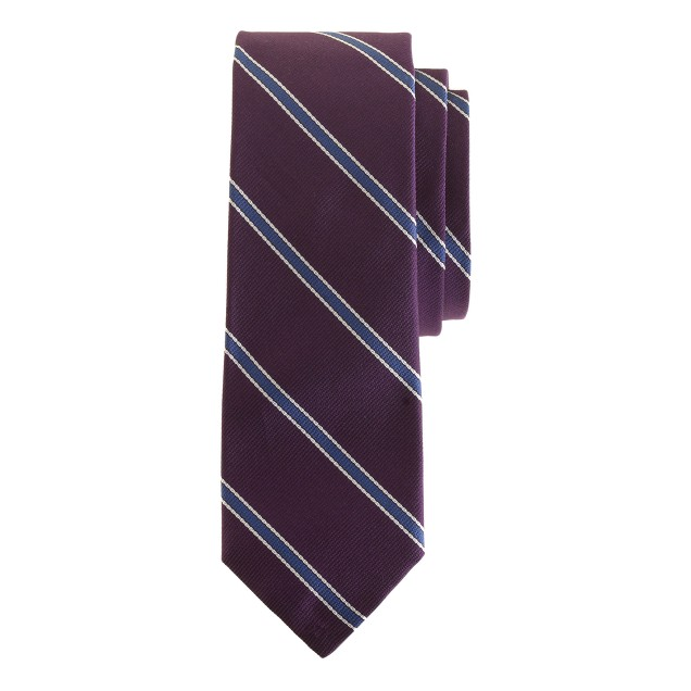 English silk tie in classic stripe