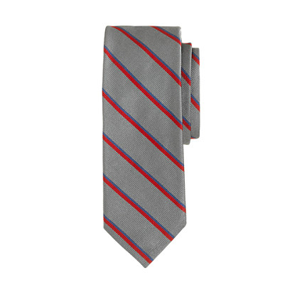 English silk tie in graphite stripe