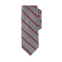 English silk tie in graphite stripe