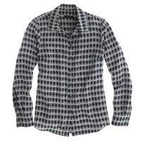 Petite silk boy blouse in owl print