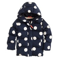 Girls' puffer in polka dot
