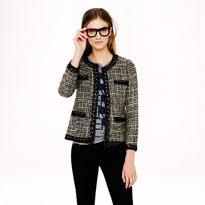Collection jeweled jacket in pepper tweed