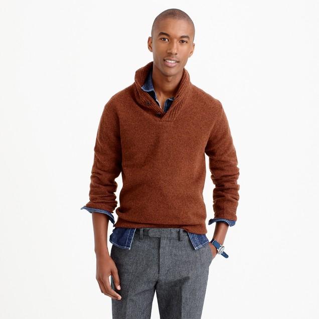Lambswool shawl-collar sweater