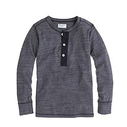 Boys' Homespun Knitwear henley in navy