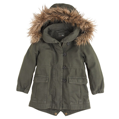Girls' utility jacket with faux-fur trim