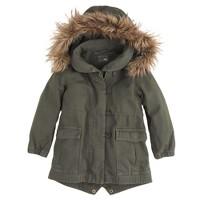 Girls' utility jacket with faux-fur trim