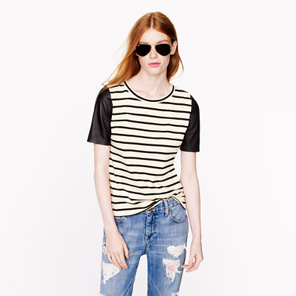 Leather-sleeve top in stripe