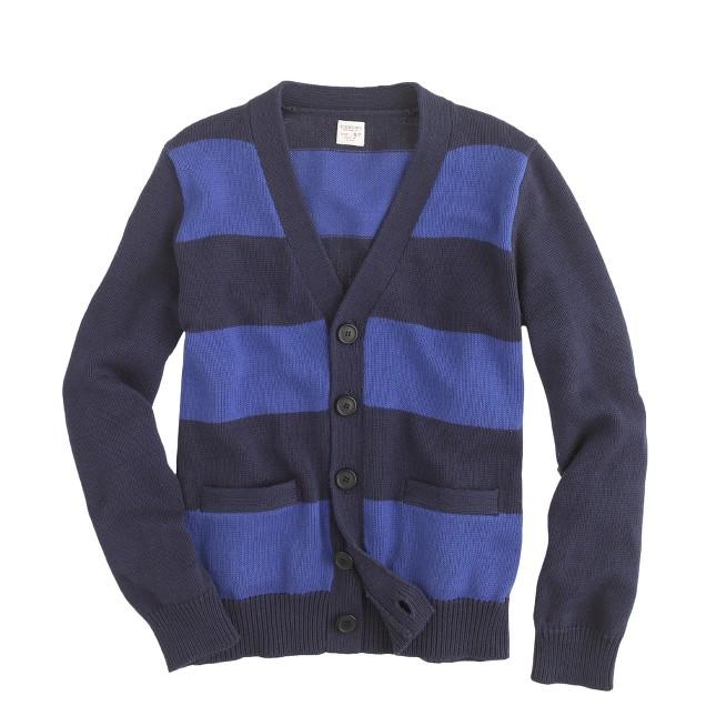 Boys' cotton rugby-stripe cardigan