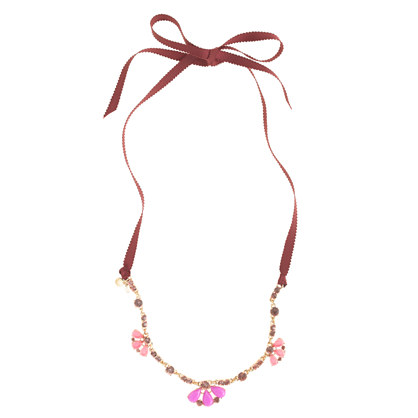 Girls' jeweled ribbon necklace
