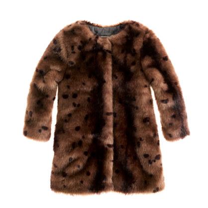 Girls' furry leopard coat