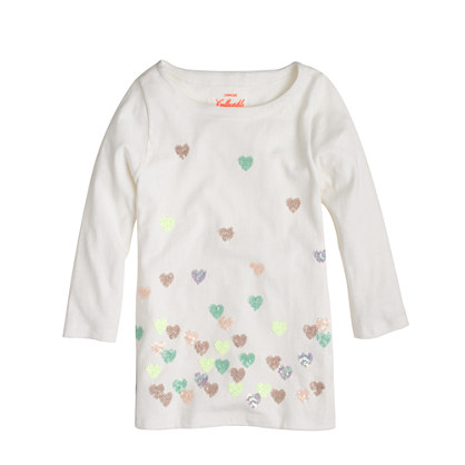 Girls' sequin falling hearts tee