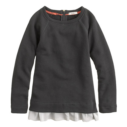 Girls' ruffle raglan sweatshirt